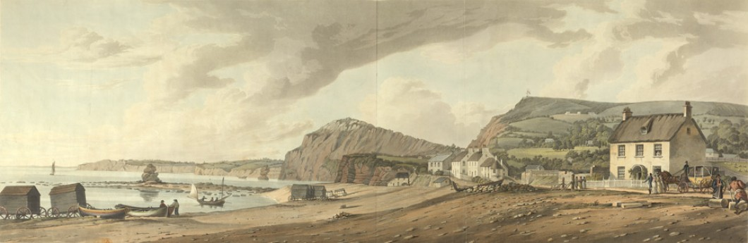 [The Bathing Machines and sea front at Sidmouth in Devon]