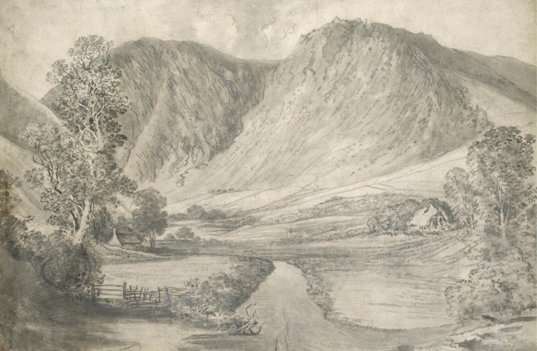 ca. 1795, grey wash over pencil, on laid paper